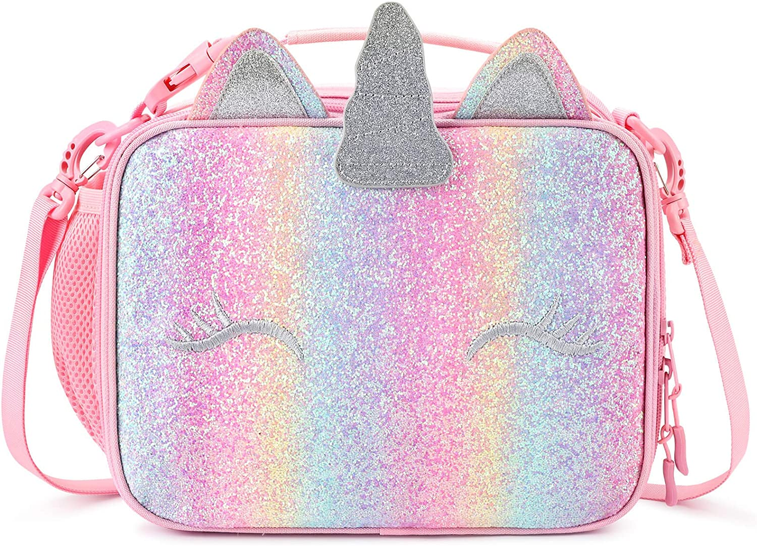 mibasies Kids Insulated Seattle Mall Lunch Box Online limited product Girls for Rainbow Unicorn Bag