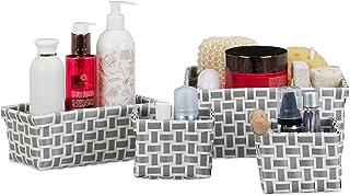 Relaxdays Boîte de rangement lot de 4 paniers plastique salle de bain tressé cosmétiques corbeille, blanc-gris