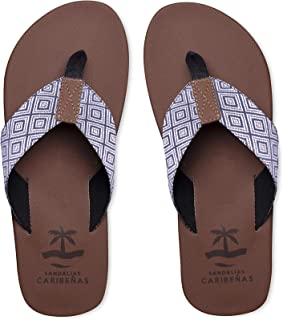 Sandalias Caribeñas Men Tulum - Casual Beach Urban Sandals │ Water Friendly Comfort Crow Feet Thong Flip Flops Long Lasting