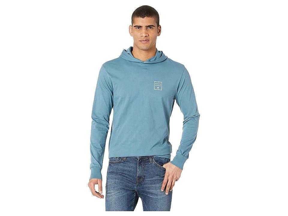 Billabong Stacked Long Sleeve Hooded Shirt (Washed Blue) Men