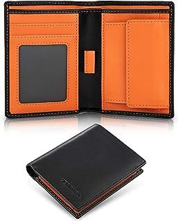 TEEHON® Portafoglio uomo slim rifd blocking con 5 porta carte di credito, 1 porta carte con linguetta, tasca portamonete, ...