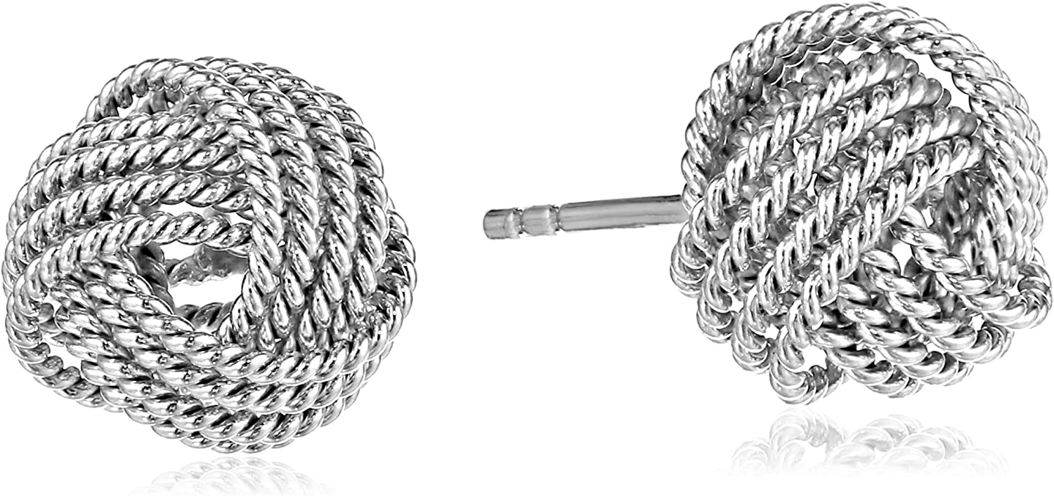 Essentials Sterling Silver Twisted Love Knot Stud Earrings: Jewelry