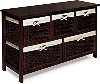 Five Drawer Storage Organization Unit with Lined Wicker Baskets