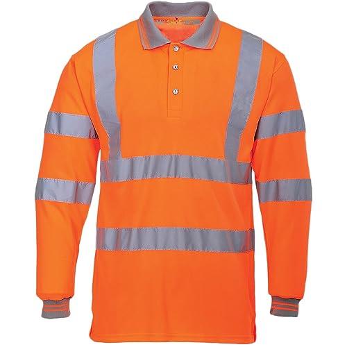 8236c92e4a3 Hi Viz Vis High Visibility Polo Shirt Reflective Tape Safety Security Work  Button T-Shirt