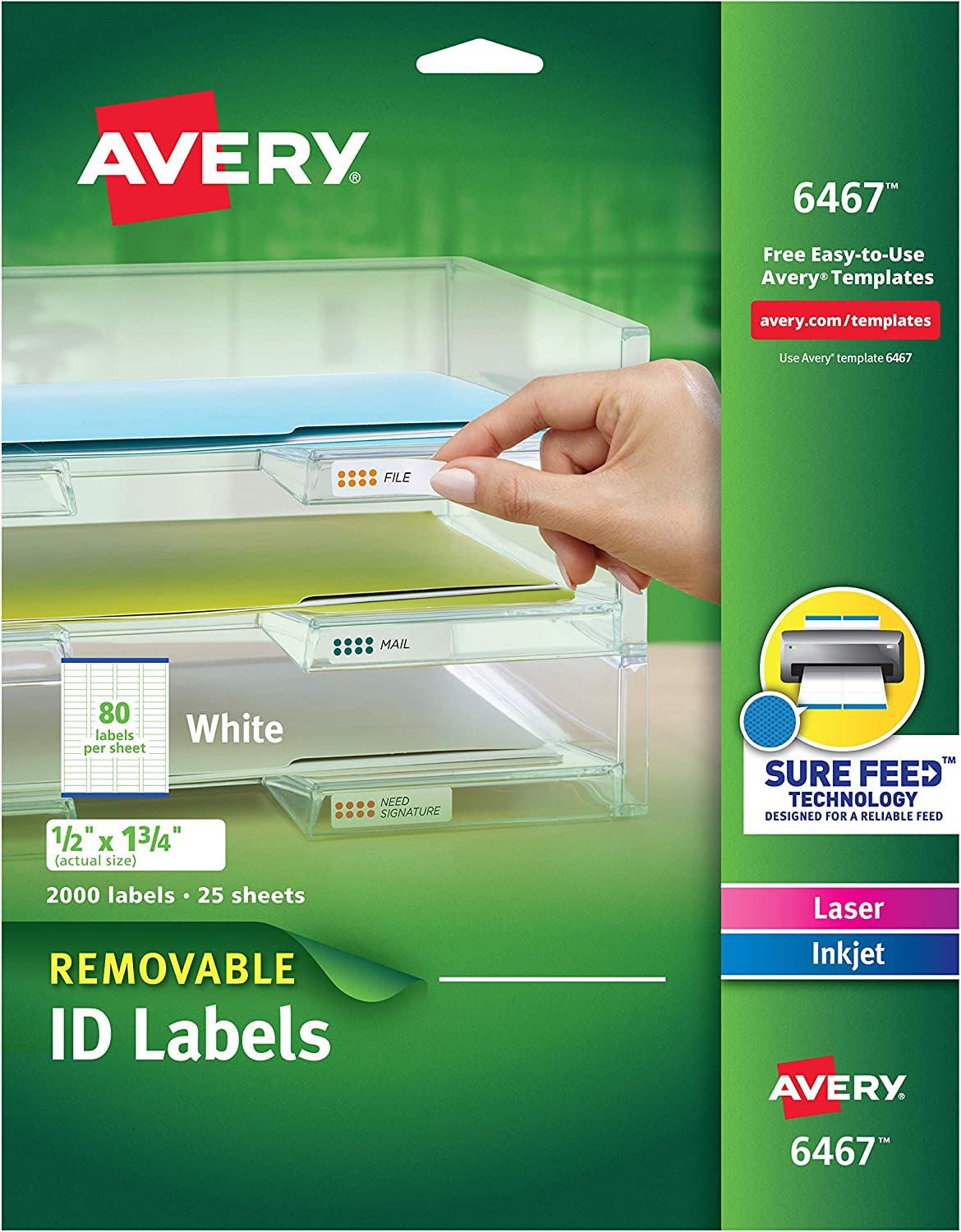 Avery Self-Adhesive White Removable Laser Id x 2