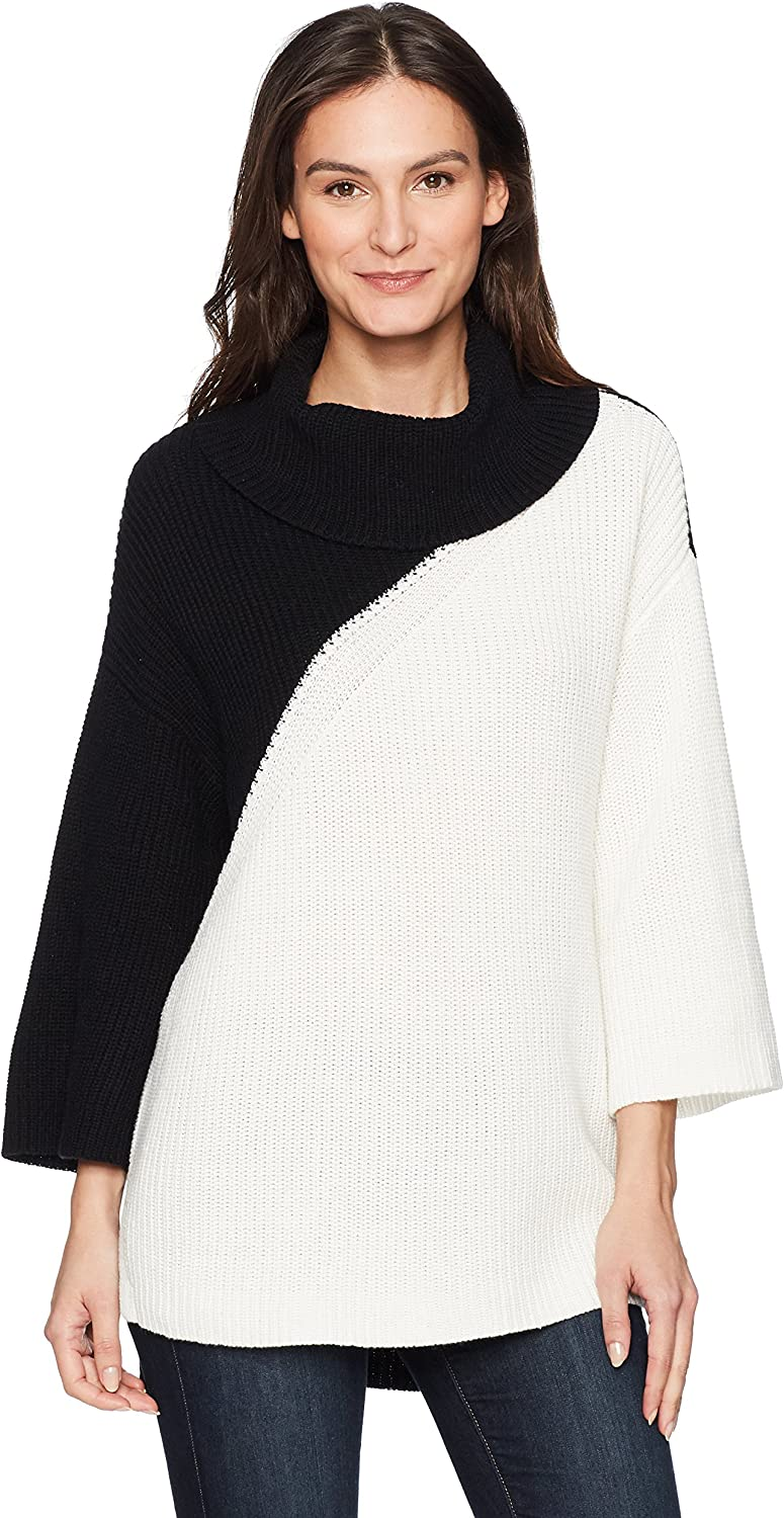 Chaus Women's Dolman Sleeve colorblock Cowl Neck Sweater