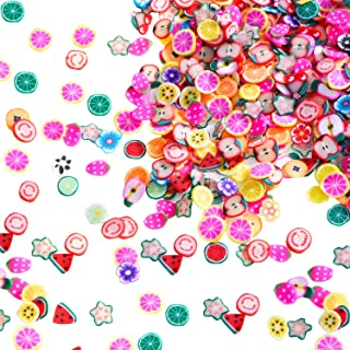 Mudder 1500 Pieces Fruit Slices Fruit Nail Art Slice Decorations Clay 3D Assorted Fruit Flower Slice