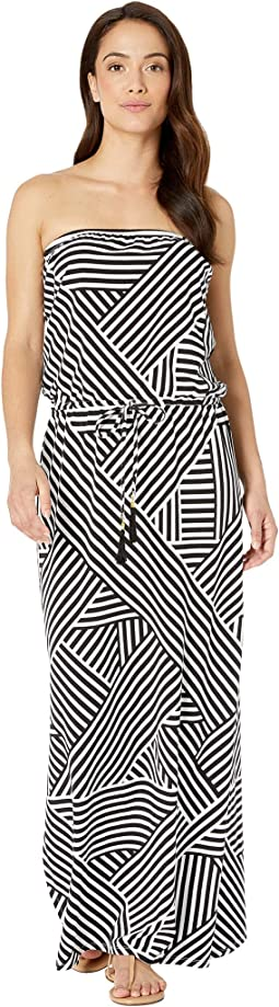 Fractured Stripe Bandeau Maxi Dress Cover-Up