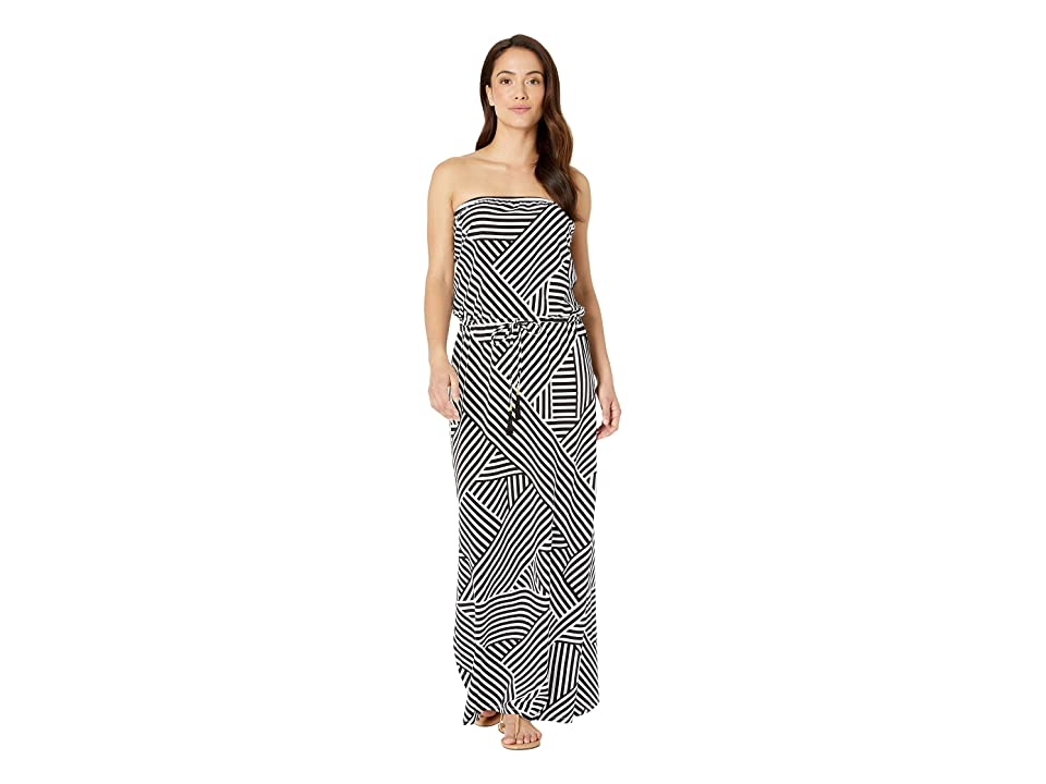 Tommy Bahama - Tommy Bahama Fractured Stripe Bandeau Maxi Dress Cover-Up