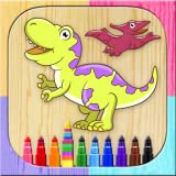 Pinta dinosaurios mágico. Juego de niños para dibujar y colorear dinos. Colorea con los dedos