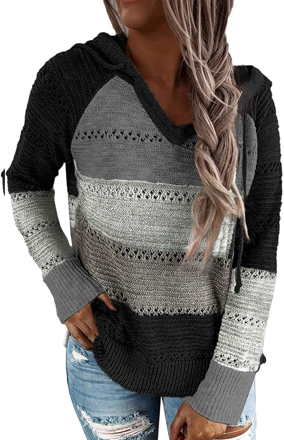 Pevilo Color Block Striped Hoodies for Women Long Sleeve Drawstring Sweaters Fall Pullover Sweatshirts