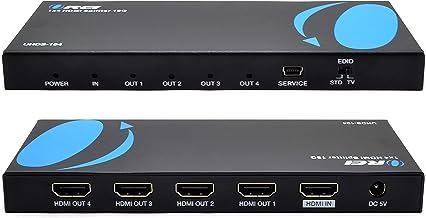 Orei UltraHD 4K @ 60 Hz 1 X 4 HDMI Splitter 1 in 4 Out 4 Port 4: 8-Bit - HDMI 2.0, HDCP 2.0, 18 Gbps, EDID, Duplicate / Mi...