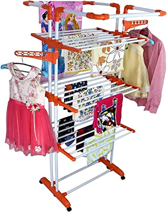 Parasnath Beautiful 3 Poll Cloth Drying Stand - 3 Poll - 3 Layer (Wheels Comes with Break System) Made in India