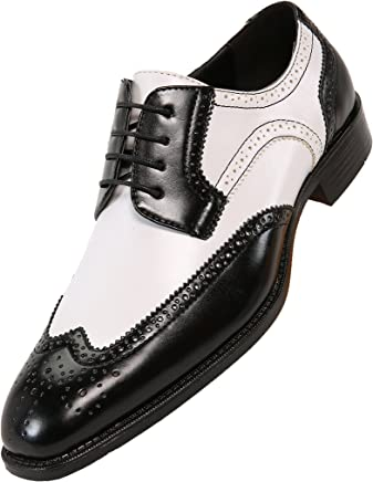 98e22a2b7ba4 Bolano Mens Classic Smooth Dress Shoe with Wing-Tip and Perforated  Detailing Style Elwyn Black