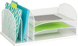 $32 » Safco Products Onyx Mesh 3 Sorter/3 Tray Desktop Organizer 3254WH, White Powder Coat Finish, Durable Steel Mesh Construction (Renewed)