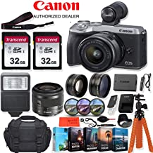 Canon EOS M6 Mark II Mirrorless Digital Camera with 15-45mm Lens (Silver) and EVF-DC2 Viewfinder - 32.5 MP, 4K UHD + Accessory Kit - Vlogging/Photo Editing Software Package, 64GB Memory & More