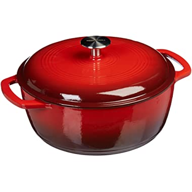 AmazonBasics Enameled Cast Iron Covered Dutch Oven, 6-Quart, Red