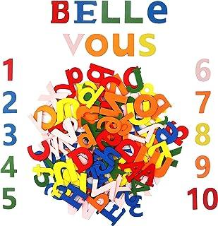 Colorido Set Letras y Números de Madera (124 Piezas) - 4,5cmx3mm Set Letras Abecedario y Numeros Madera Letras (A-Z) Mayúsculas, Minúsculas (52 cada una) 20 Números (0-9) Para niños, & Manualidades