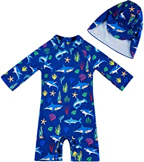 upandfast Baby Boys/Girls Swimwear UPF 50+ Sun Protection Toddler One Piece Swimsuit with Zipper and Snap Button