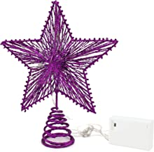CVHOMEDECO. Violet Glittered 3D Tree Top Star with Warm White LED Lights and Timer for Christmas Tree Decoration and Holid...