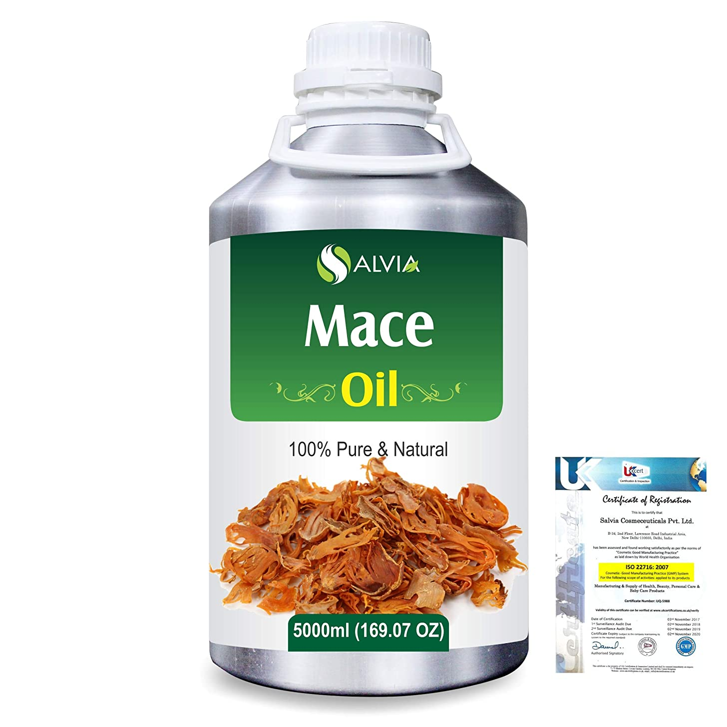 オーラル郊外お風呂Mace (Myristica fragrans) 100% Natural Pure Essential Oil 5000ml/169fl.oz.