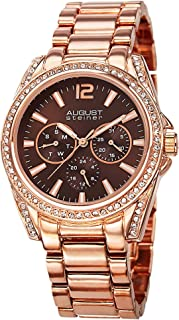 August Steiner Women's Fashion Watch - Crystal Bezel and Lugs around Chocolate Brown Dial with Day of Weekek, Date, and 24...