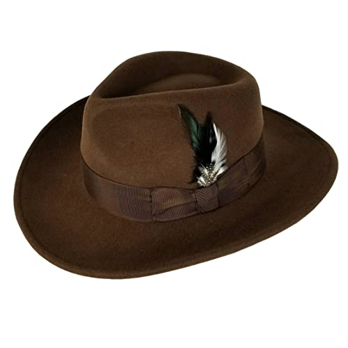 2ee84cefc7707e Different Touch Men's 100% Soft & Crushable Wool Felt Indiana Jones Style  Cowboy Fedora Hats