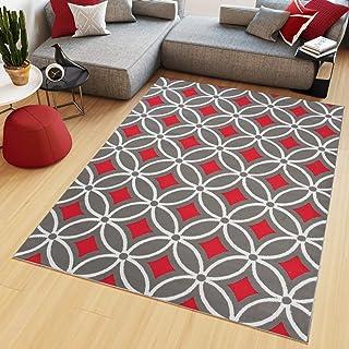 Tapiso Maya Tapis De Salon Chambre Ado Design Moderne Rouge Gris Blanc  Losanges Géométrique Mosaïque Fin