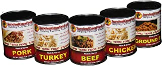 Survival Food Long Term Storage Emergency Food Ready to Eat Canned Meat Combo Sampler Pack - 28oz Cans 1 can each: Beef, Chicken, Turkey, Pork & Ground Beef