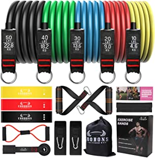 Resistance Bands Set, Including 5 Stackable Exercise Bands with Door Anchor,3 Latex Loop Bands, 2 Ankle Straps - for Resis...