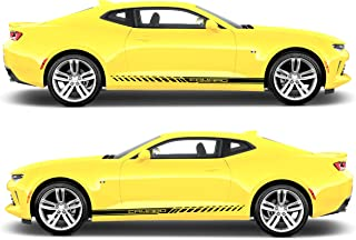 Evilrpm Pair Door Decal Side Stripe Stickers-Vinyl Racing Stripes Kit Compatible with Chevrolet Camaro (Black Matt)