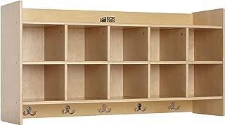 ECR4Kids Birch Wood 10-Section Hanging Coat Locker with Shelf