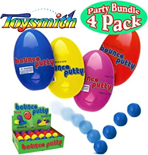 Toysmith Bounce Putty Red, Blue, Yellow & Purple Complete Gift Set Party Bundle - 4 Pack