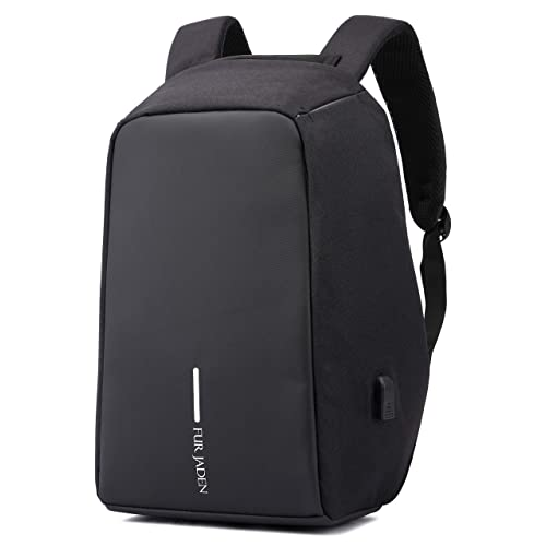 c3008adce6da Fur Jaden Black Anti Theft Waterproof Casual Backpack with USB Charging  Point