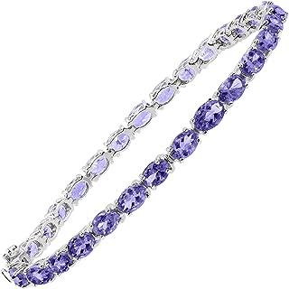 13 ct Natural Tanzanite Tennis Bracelet in Sterling Silver