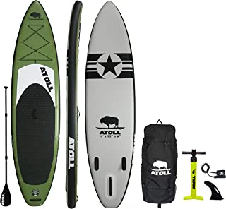 Atoll 11' Foot Inflatable Stand Up Paddle Board (6 Inches Thick, 32 inches Wide) ISUP, Bravo Hand Pump and 3 Piece Paddle, Travel Backpack and Accessories New Paddle Leash Included