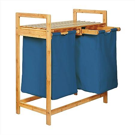 Lumaland Panier à Linge en Bambou 73 x 64 x 33 cm - 2 Poches Amovibles en Coton - Bleu - Corbeille de Rangement - Meuble Linge Sale – Salle de Bain/Buanderie
