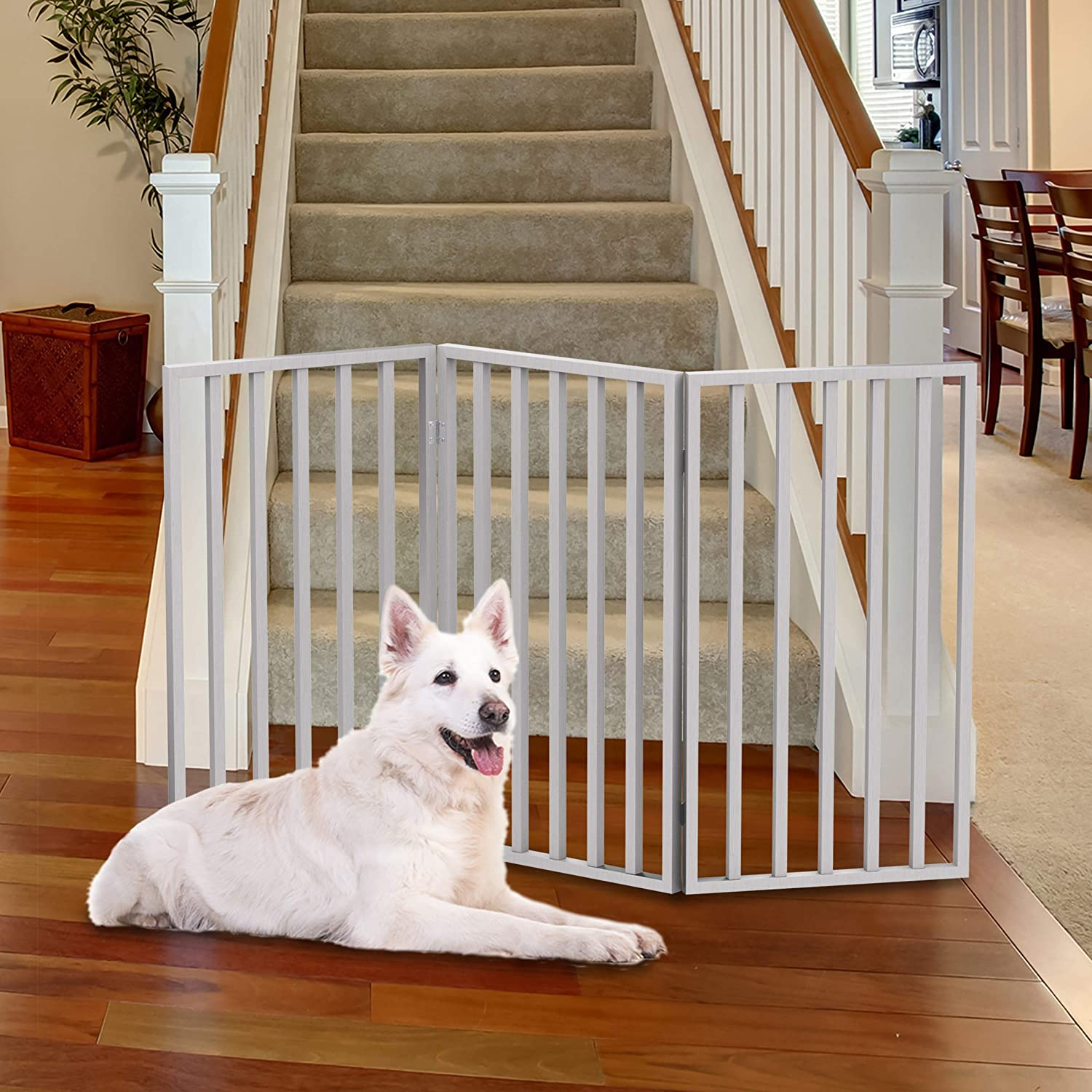 """PETMAKER Wooden Pet Gate Tall Freestanding 3Panel Indoor Barrier Fence, Lightweight and Foldable for Dogs, Puppies, Pets 54 x32"""" (White)"""