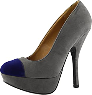 Qupid Women's 2 Color Tone Platform Round Toe Stilettos High Heel Shoes