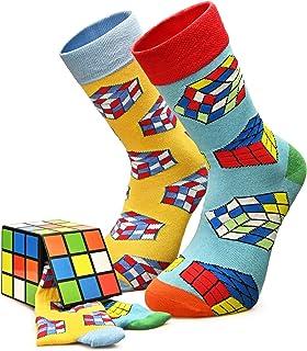 CREA SOCKS, Calcetines divertidos para mujer, diseño de cubo de Rubik, regalo para hombres y mujeres, calcetines navideños divertidos, calcetines de regalo para adolescentes, 2 pares UK4-7 EU36-40