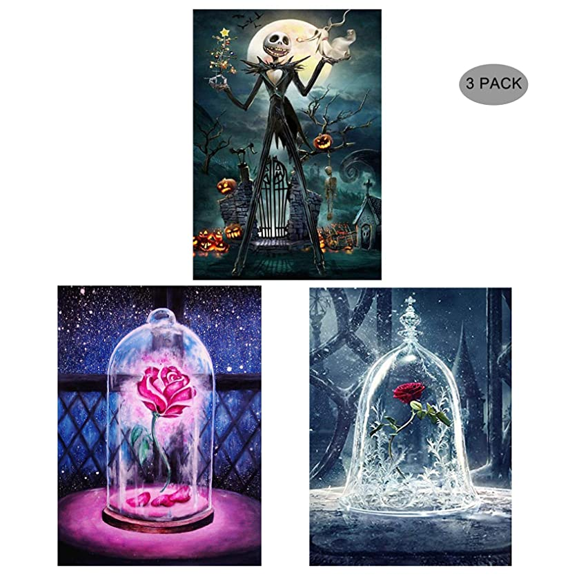 5D Diamond Painting Kit Full Drill,EVERMARKET DIY Rhinestone Embroidery Cross Stitch Arts Craft Wall Decor Gift, 11.8''X15.7'' (3 Pack-Pink Light Rose,Jack Skull,White Light Rose) yg33955926