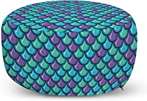 Ambesonne Fish Ottoman Pouf, Marine Animal Skin Dragon Scale Pattern Ornate Aquatic Themed Marine, Decorative Soft Foot Rest with Removable Cover Living Room and Bedroom, Blue Violet Sea Green