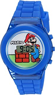 Nintendo Boys' Quartz Watch with Plastic Strap, Blue, 17 (Model: GMA3002)