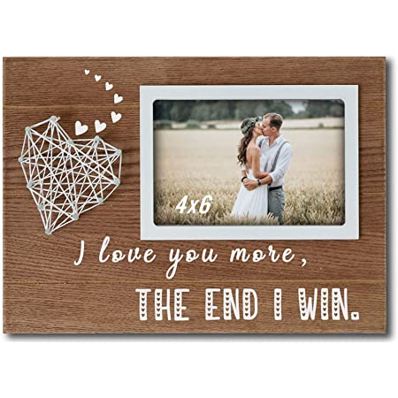 Valentines Gift For Him Personalized Gift Magnetic I Love You Picture Frame with set of 2 Dot and 1 Mini Heart Neutral Colored Magnets