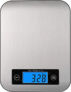 Digital Kitchen Scale, Big Stainless Steel Panel Food Scale Accurate Digital Weight Grams and Ounces, Tare Function, 10kg ...