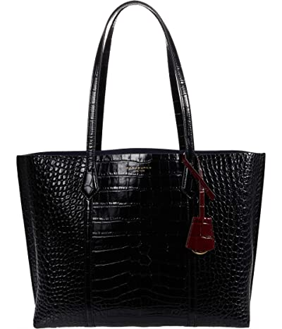 Tory Burch Perry Embossed Triple Compartment Tote (Black) Handbags