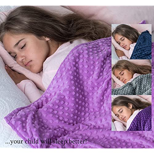 """5lb Weighted Blanket with Dot Minky Cover for Kids 40-60lb Individual.Help Children with Sleep Issues Anxiety Stress Insomnia (Inner Light Violet/Cover Violet & Pink, 36""""x48"""" 5 lbs)"""
