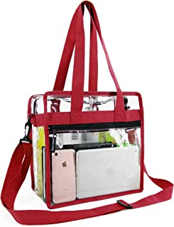Stadium Clear Bags w Front Pocket and Shoulder Carry Handles, NCAA NFL & PGA Security Approved Travel & Gym Vinyl Zippered Tote Bag