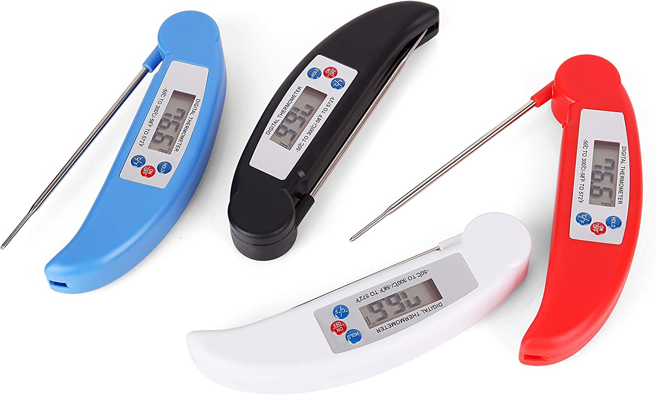 Digital Meat Thermometer LMCFYJ Ultra Fast Read Meat Thermometer For Grill And Cooking With Waterproof Body Red