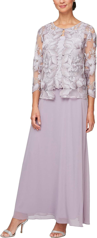 Alex Evenings Women's Long and Tea Length Mock Lace Jacket Dress (Regular Petite)
